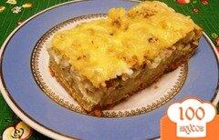 Фото рецепта: «Быстрый пирог с консервами и рисом»