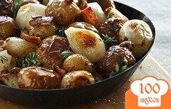 Фото рецепта: «Запеченная картошка с беконом и луком»