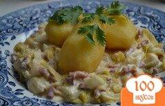 Фото рецепта: «Отварной картофель на подушке из порея с ветчиной»