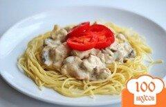 Фото рецепта: «Паста с курицей и грибами в сливочном соусе»