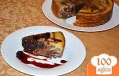 Фото рецепта: «Шоколадный сырник с вишневым вареньем»