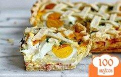 Фото рецепта: «Пирог с картофелем, яйцами и ветчиной»