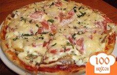 Фото рецепта: «Пицца с колбасой в мультиварке»