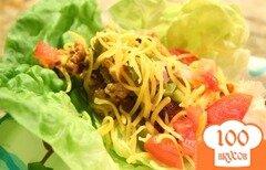 Фото рецепта: «Чизбургер из латука с гренками, мясом и овощами»
