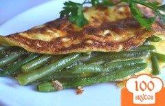 Фото рецепта: «Омлет с сыром и фасолью»
