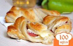 Фото рецепта: «Косички с колбасой и сыром»