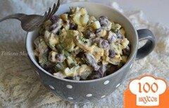 Фото рецепта: «Яичный салат с красной фасолью и грибами»