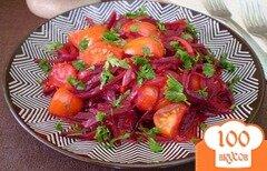 Фото рецепта: «Свекла тушенная с помидорами и луком»