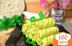 Фото рецепта: «Блинчики полосатики с капустой»