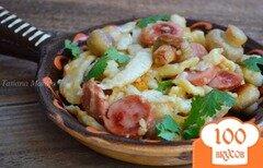 Фото рецепта: «Шпецле с грибами и колбасками»