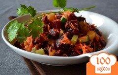 Фото рецепта: «Свекольный салат с обжаренным картофелем»