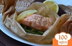 Фото рецепта: «Семга с зеленой фасолью на пару»