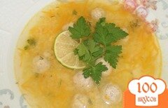 Фото рецепта: «Суп с фрикадельками и пшеничной крупой»
