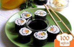 Фото рецепта: «Роллы с лососем, сладким перцем и кунжутом»