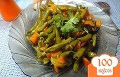 Фото рецепта: «Овощной гарнир из спаржевой фасоли с овощами»