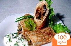 Фото рецепта: «Блины с грибами и капустой»