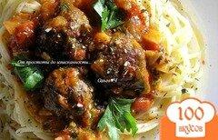Фото рецепта: «Спагетти с фрикадельками в томатном соусе»