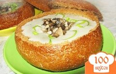Фото рецепта: «Грибной суп в буханке хлеба»