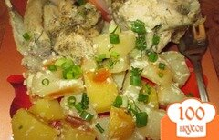 Фото рецепта: «Нежная курица с картошкой в кулинарном рукаве»