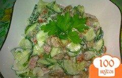 Фото рецепта: «Салат из огурцов с колбасками»