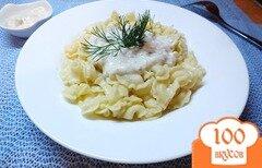 Фото рецепта: «Макароны под сливочно-чесночно-ореховым соусом»