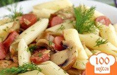 Фото рецепта: «Макароны с сосисками и грибами»