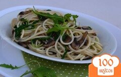 Фото рецепта: «Спагетти с грибами и рукколой»