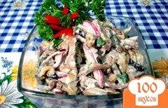 Фото рецепта: «Салат из сердца с баклажанами и грибами»