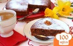 Фото рецепта: «Постный медово-шоколадный манник с изюмом и орехами»