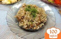Фото рецепта: «Печень куриная с грибами и гречкой»
