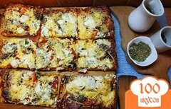 Фото рецепта: «Пицца с мясным ассорти и дор-блю»
