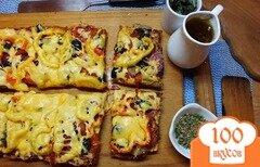 Фото рецепта: «Пицца с салями, говядиной и болгарским перцем»