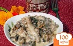 Фото рецепта: «Опята со свининой в сметанном соусе»