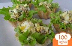 Фото рецепта: «Тарталетки с печенью трески и яйцом»