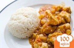 Фото рецепта: «Курица с ананасами на сковороде»