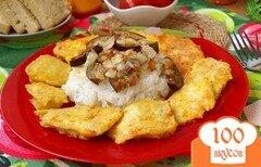 Фото рецепта: «Камбала в постном кляре и гарнир из риса с баклажанами»