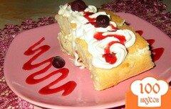 Фото рецепта: «Бисквитный рулет со сливками»