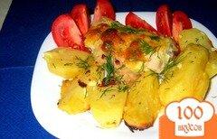 Фото рецепта: «Запеченная в духовке картошка с курицей»