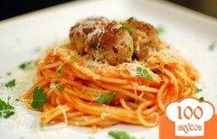 Фото рецепта: «Спагетти в соусе маринара с фрикадельками»