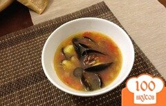 Фото рецепта: «томатный суп с морепродуктами»