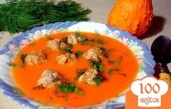 Фото рецепта: «Овощной суп пюре с фрикадельками»
