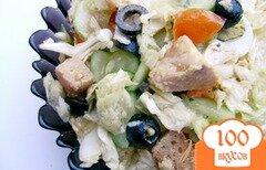 Фото рецепта: «Салат «Оливковый перепел» с куриным филе и пекинской капустой»