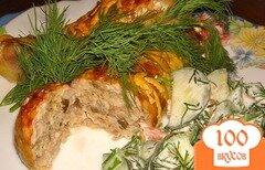 Фото рецепта: «Фаршированная голень курицы с грибами»
