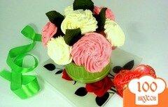 Фото рецепта: «Капкейки «Букет роз»»