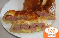 Фото рецепта: «Штрудель с картофелем и сосиской»