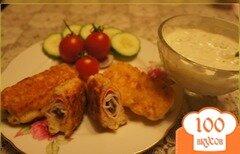Фото рецепта: «Крабовые палочки с шампиньонами, в сырном кляре»