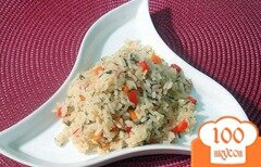 Фото рецепта: «Рис с перцем, морковью и укропом»