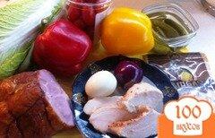 Фото рецепта: «Салат мясной с пекинской капустой м овощами»