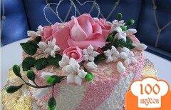 """Фото рецепта: «Торт """"Цветы из мастики""""»"""