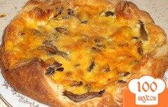 Фото рецепта: «Открытый пирог с курицей и грибами»